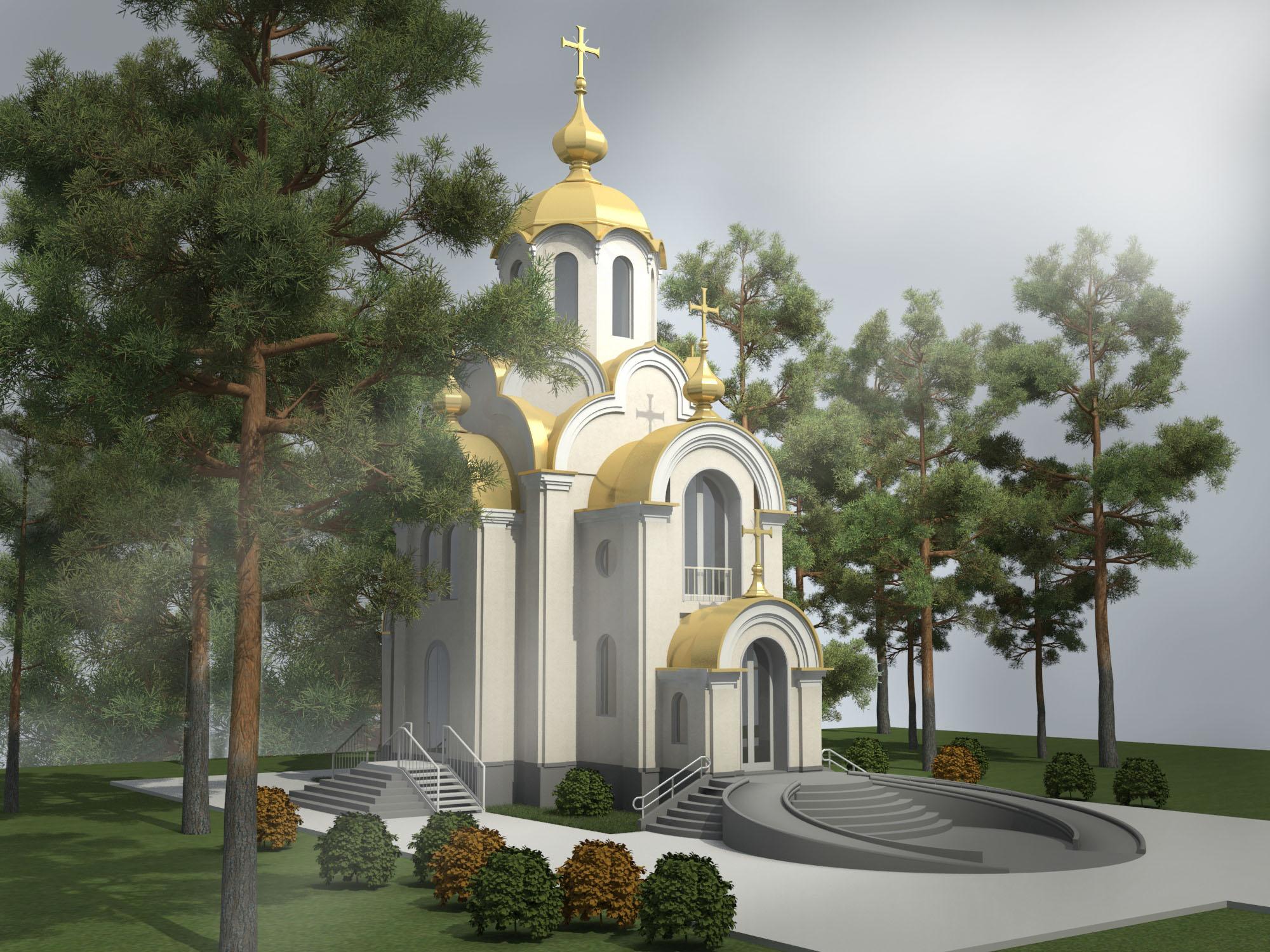 Православный храм. Проект храма и рисунок церкви расположены в архитектурном бюро Архилюкс