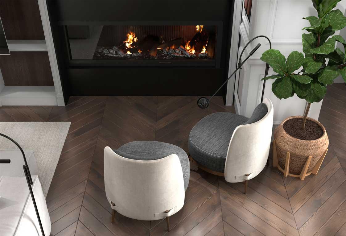Дизайн интерьера — Гостиная с камином — 26