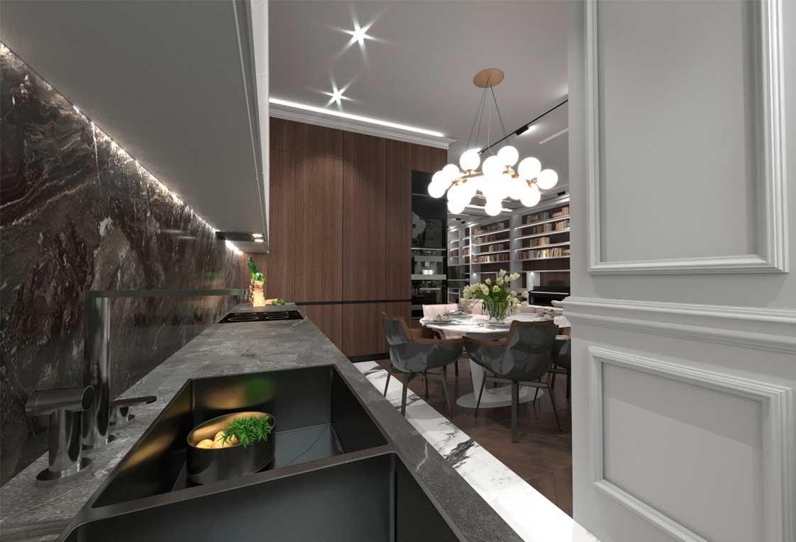 Дизайн проект квартиры в Киеве — Кухня гостиная — 09
