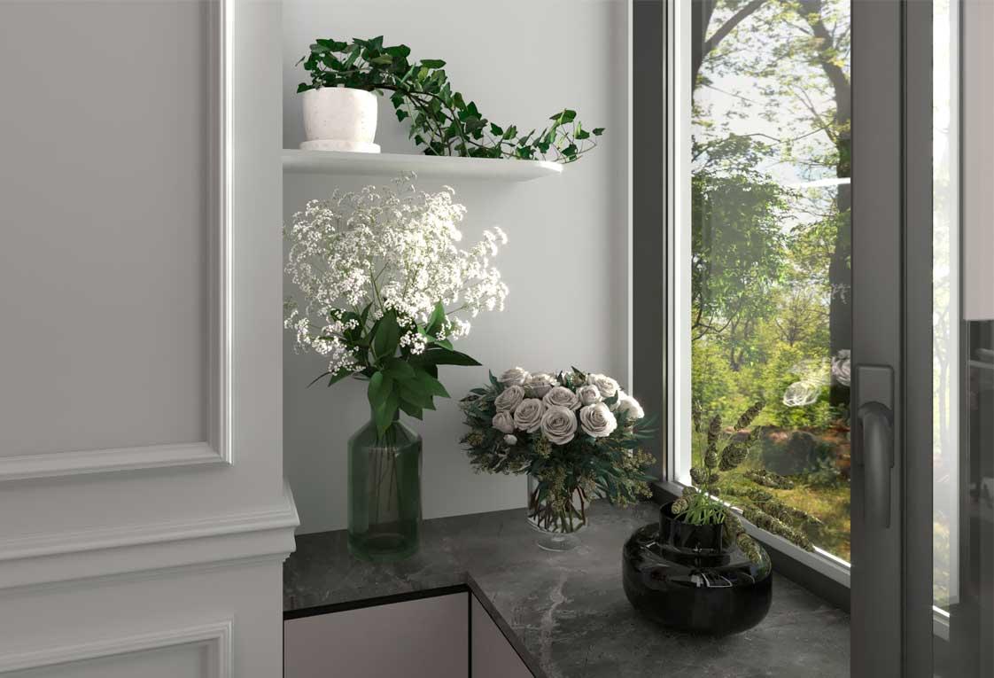 Дизайн интерьера квартиры — Визуализация кухни с окном — 11