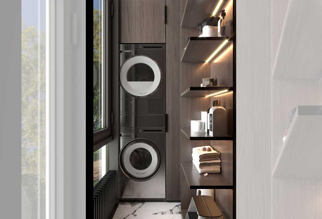 Визуализация проекта квартиры — Стиральная и сушильная машины, полки — 17