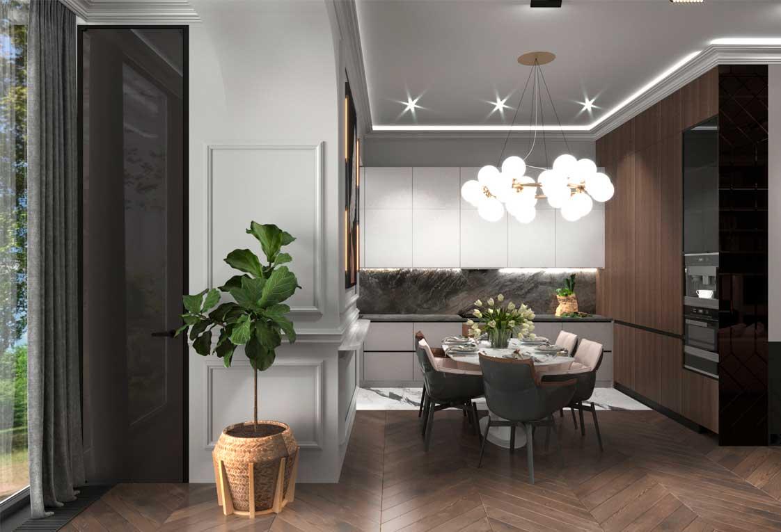 Визуализация проекта квартиры — Кухня гостиная — 14