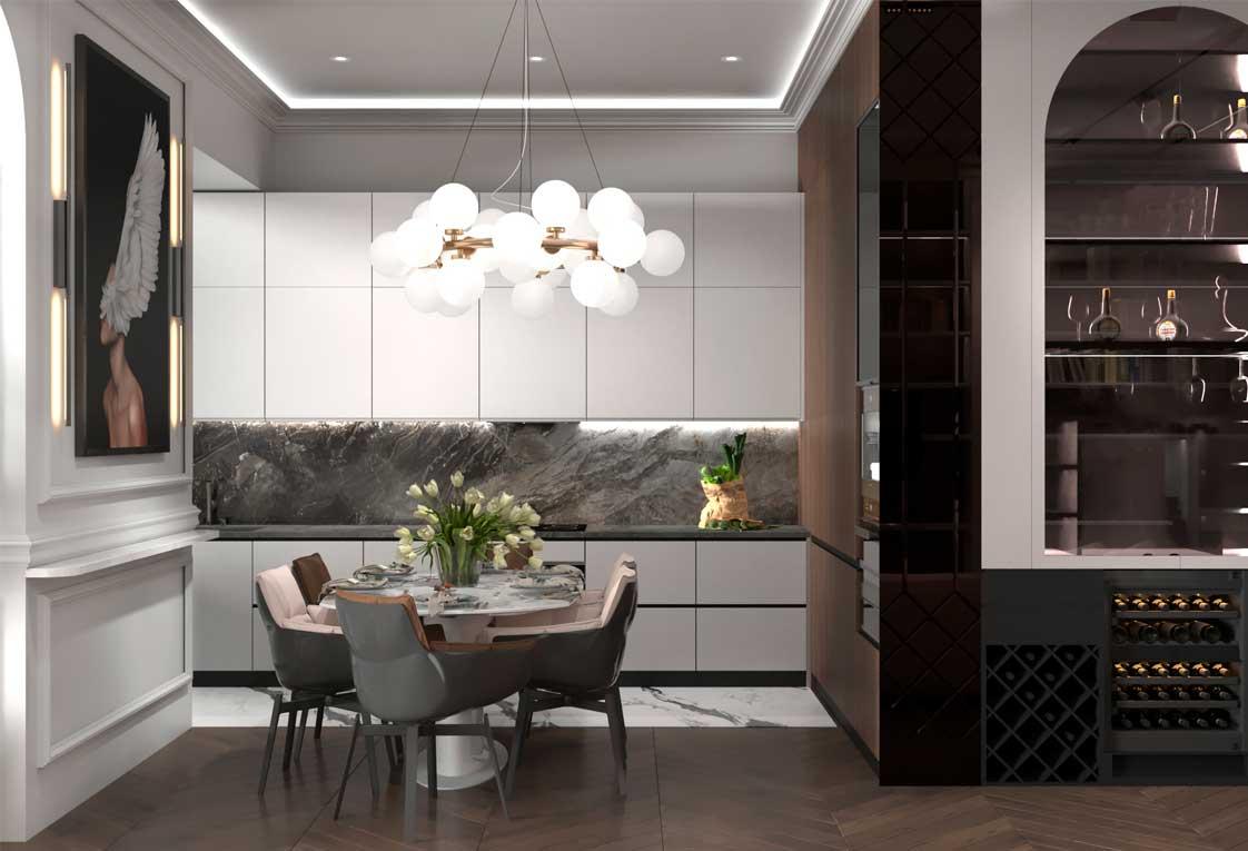 Дизайн проект интерьера квартиры — Кухня бар — 08