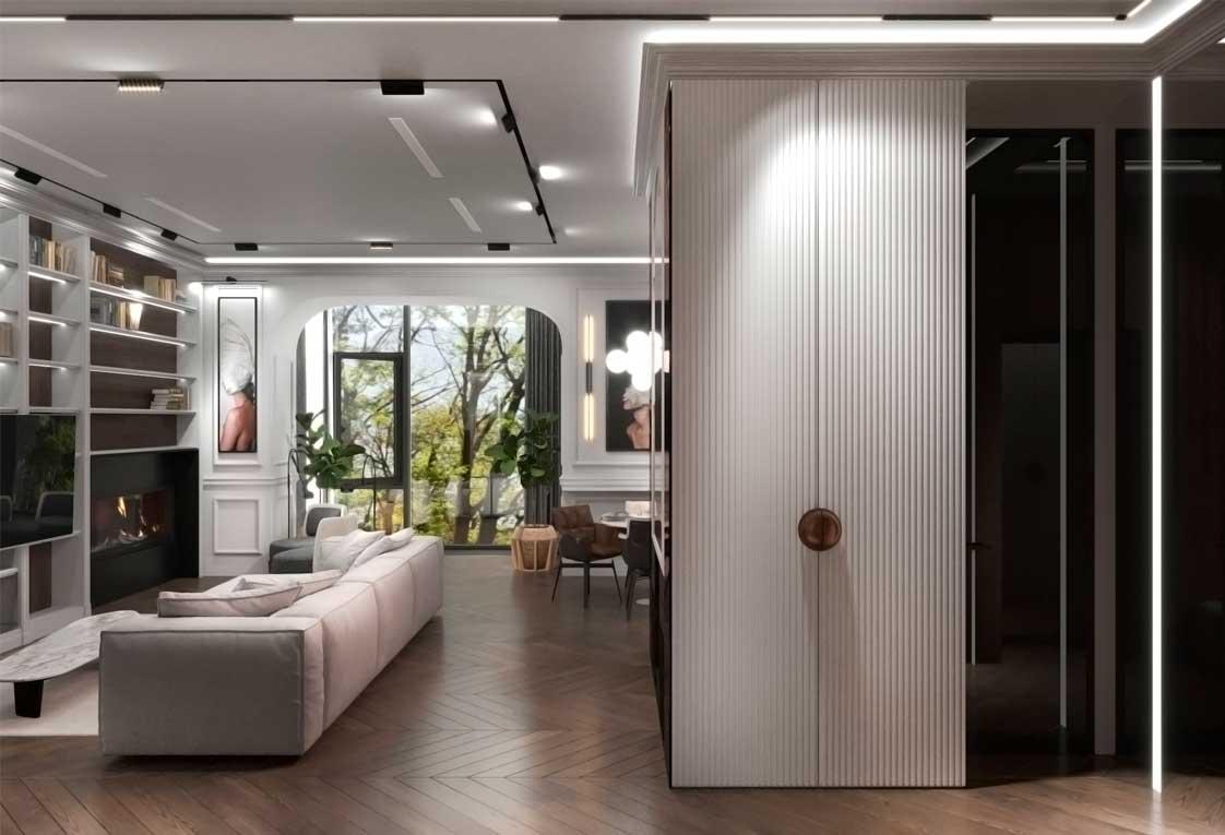 Дизайн проект интерьера, Украина. Прихожая-гостиная — 03