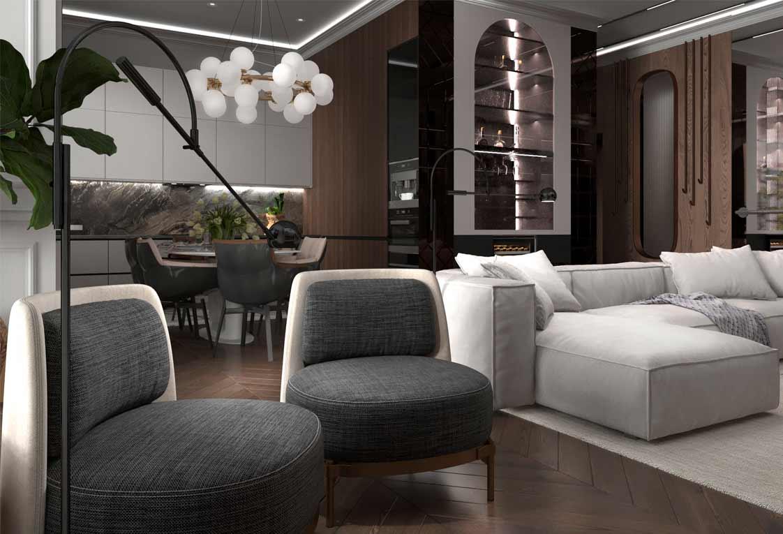 Планировка интерьера квартиры — Гостиная, кухня, бар — 28