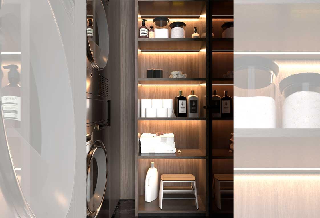 Визуализация проекта квартиры — Стиральная и сушильная машины, шкаф — 19