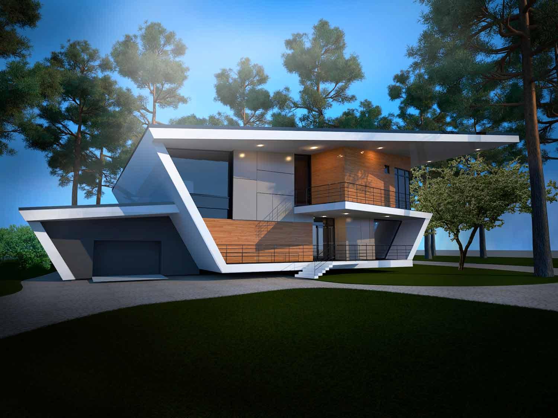 Проект загородного дома в стиле хай-тек выполнен в архитектурном бюро Архилюкс архитектором Ильей Максимовым – Киев, Украина