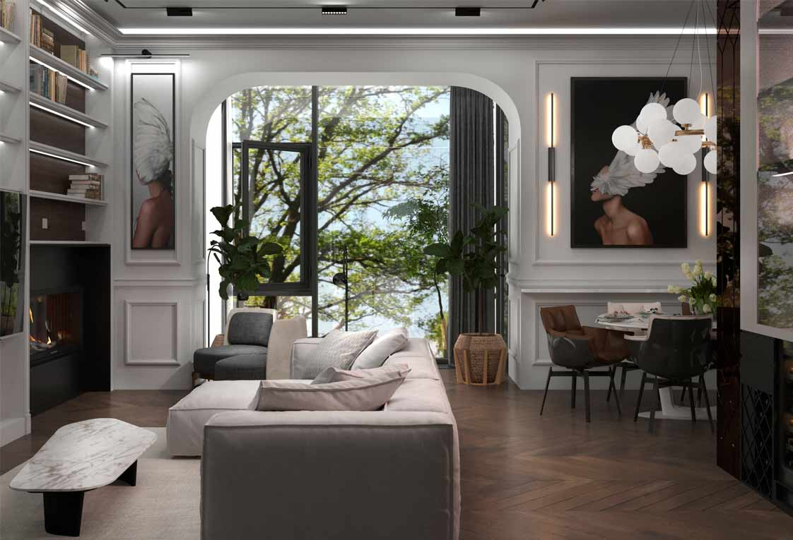 Разработка дизайн проекта интерьера — Гостиная — 23