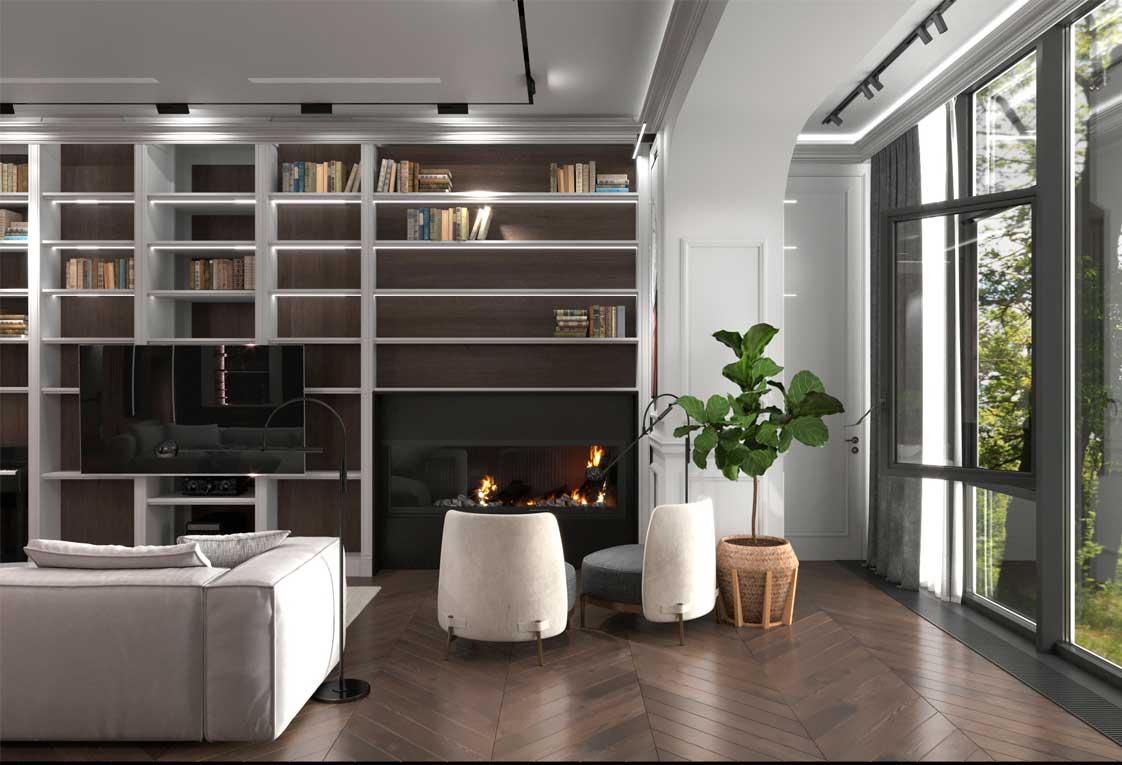 Дизайн проект интерьера Гостиная с камином — 22