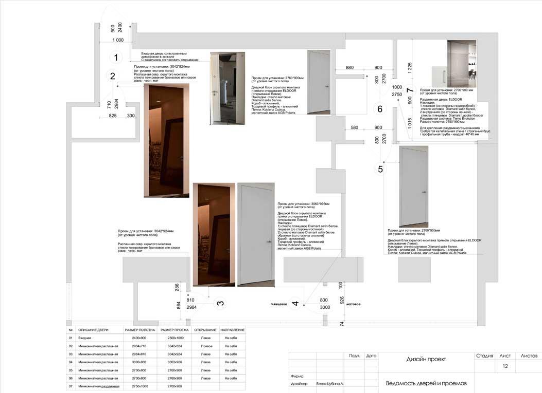 Ведомость дверей и проемов в дизайн проекте с чертежами и визуализацией — 12