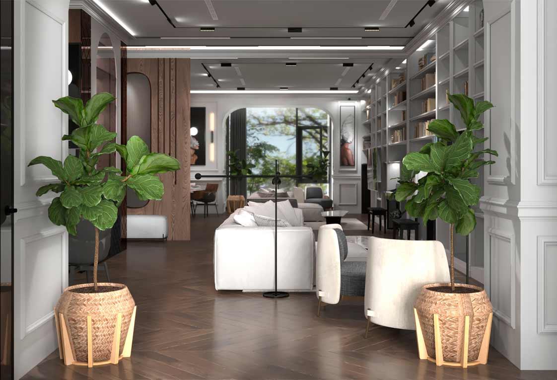 Дизайн проект квартиры — Гостиная с зеркалом — 20