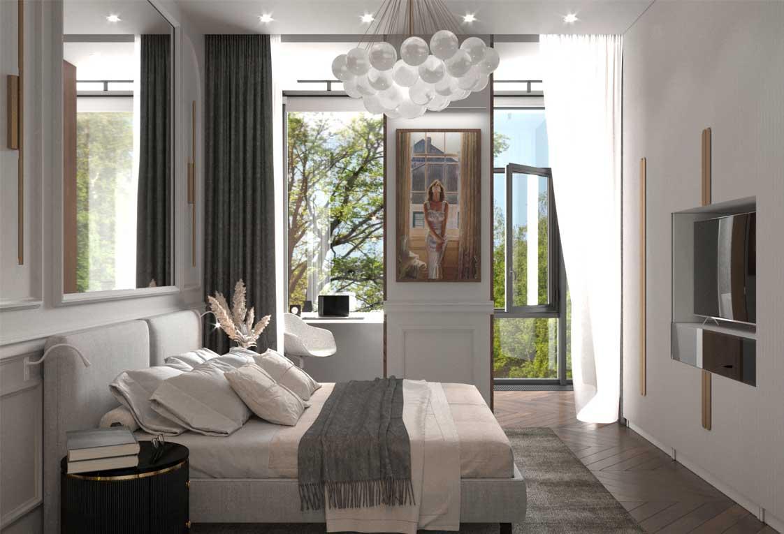 Проект перепланировки квартиры — Спальня, окно — 35