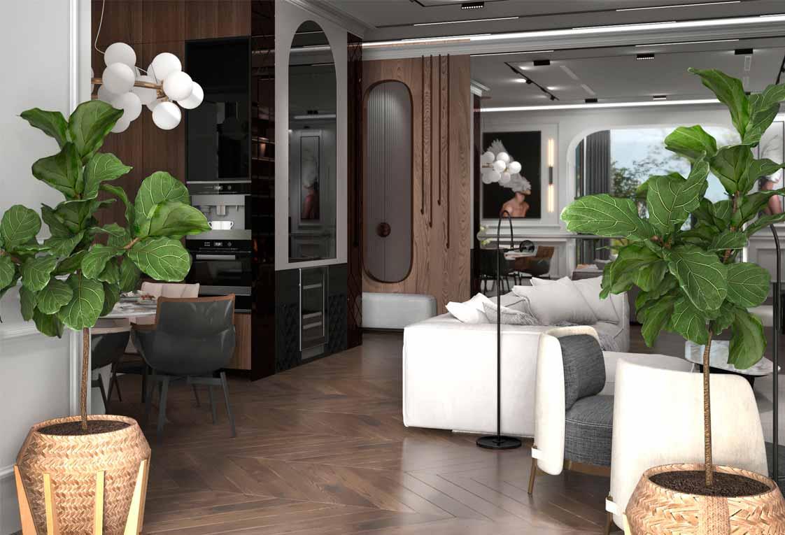 Планировка квартиры — Дизайн интерьера гостиной — 21